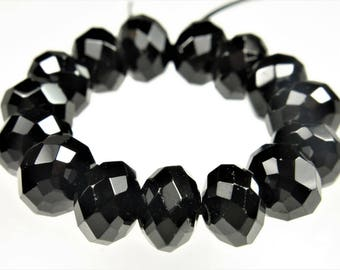 Rare & Precious ~ Premium Quality Black Spinel Faceted Rondelle Bead - 9 mm x 6 mm - 15 beads - B8440