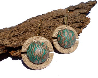Unique polymer clay earrings - One of a kind -  Green ivory pattern