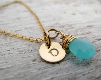 Gold Initial Necklace, Aqua Blue Chalcedony, Handstamped Jewelry