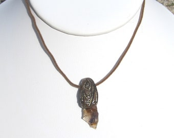 Brown Black and Gold Agate Shard Pendant