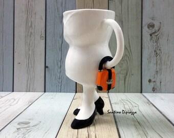 A piedi di ceramiche, la borsa Mug, regali per Lady Boss, regali dell'ufficio unico, bianca in porcellana tazza, tazza di caffè eccentrico, tazza con le gambe
