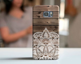 S8 Plus Wood mandala case, Galaxy Note 7, Samsung S7, samsung s6, samsung A5, samsung s7 edge, note 5 case, samsung j3 case, Grand Prime