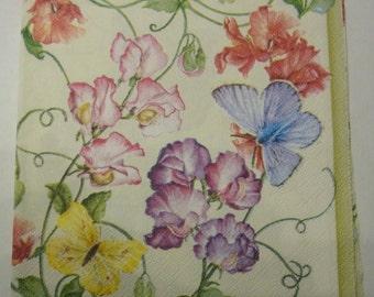 Decoupage Napkins,  retro vintage paper napkins, flowers and butterflies