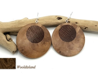 Circle of olive, olive wood jewelry earrings, handmade