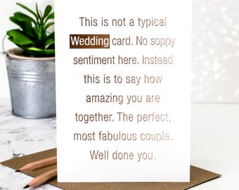 Wedding Card; This Is Not A Typical Wedding Card; Rose Gold Foil; Card For Couple; Luxury Wedding Card; Gold Foil Wedding Card; GC386
