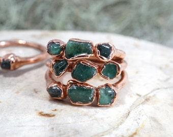 Raw Emerald Ring • Raw Crystal Ring • May Birthstone Ring • Boho Lux Ring • Trinity Ring • Emerald Ring • Rough Gemstone Ring • Gift for Mom