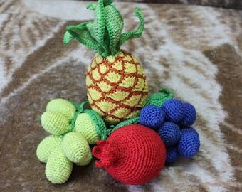 Set Crochet Fruits 4 PCs Crochet Vegetables Toy Amigurumi Pineapple Sensory Play Food Kitchen Decoration Eco-friendly Toys  Birthday Gifts