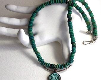 On Sale Necklace. Mens Necklace. Turquoise Necklace. Blue Necklace. Short Necklace. Silver Necklace. Ohm Necklace. Zen Necklace.