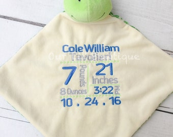 Frog lovie etsy personalized stuffed animal subway art baby gift personalized lovie birth announcement new negle Gallery