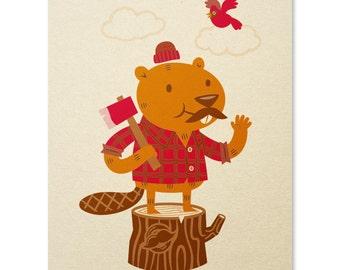 Beaver Art Print / Cheerful Chomper Print / Lumberjack Print / Animal Wall Art / Cute Print / Home Decor / 8 x 10