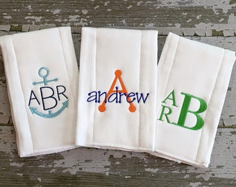 Monogrammed Burp Cloth, Monogrammed Burp Cloth Gift Set, Boys Burp Cloths, Embroidered Burp Cloth, Monogram Gifts, Baby Gifts