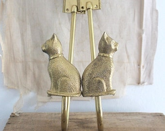 Vintage brass cat wall hook, brass coat hook, made in India