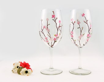 Cherry blossoms wine glasses - Set of 2 hand painted white wine glasses