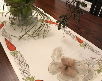 Easter Border, Easter Table Runner, Carrot Trim, Bunny and Bow, Easter, Rabbits, Spring, Summer, Holiday, Handmade, Hand-painted