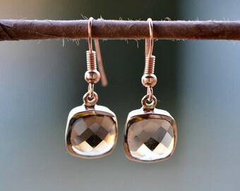 Rose Gold Earrings, Rose Gold Dangly Earrings, Smoky Quartz Earrings, Lightweight Gemstone Earrings, Christmas Gift for Her, Gifts Under 25