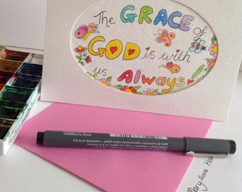 The Grace of God is With Us Always Christian Card,Encouragement Card,Bible Verse Card, Scripture Verse Card, Christian Card, Affirmation Car