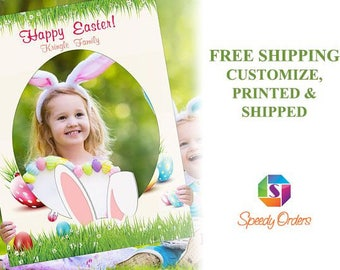 Large personalized Happy Easter Photo booth prop , Easter Decorations , Easter Eggs photo booth , Bunny frame  ;10011127