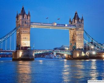 Fine Art Print Tower Bridge Blues, mounted or unmounted, wall decor