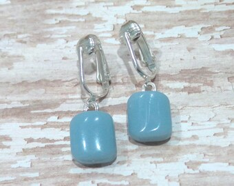 Baby Blue Dangle Clip Earring, Pastel Blue Clip On Earring, Dangle Clip Earings, Fused Glass Jewelry, Ready to Ship - Celestina -7