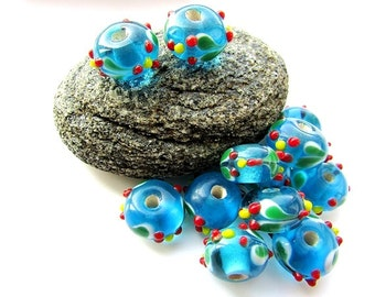 4pcs Blue Lampwork Glass Beads 8 x 12 mm Rondelle Glass Beads Lampwork Beads 3 mm Hole Bumpy Glass Beads Craft Supplies Jewelry Making