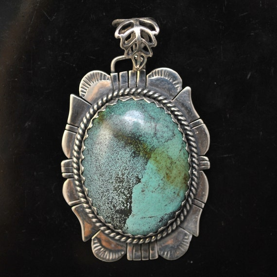 Sterling Silver Tibetan Turquoise Pendant Native American Style #9105