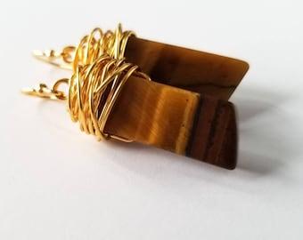 Tigers eye earrings, wire wrapped earrings, golden brown earrings, tigers eye dangle earrings, gift for her
