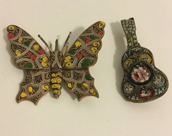 Set of two vintage pins, butterfly and guitar!