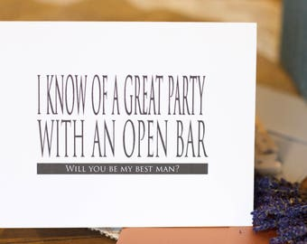 I know of a great party with an open bar groomsman, Best man, Man of Honor, bridesmaid, Maid of honor card, invitation, bridal party