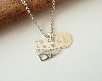 Personalized necklace: heart - customized initials necklace - hand engraved initials necklace, monogram, initials - personalized gift letter