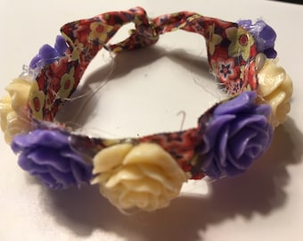 Purple and yellow elastic flower wrap