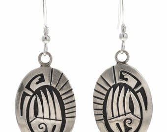 Native American Silver Bear Paw Earrings Overlaid Sterling French Hooks