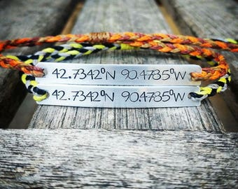 Braided Custom Hand Stamped Bracelet, friendship bracelet, Custom Name Jewelry, Quote Bracelet, Gift Idea, Waxed Polyester cord