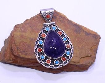 Amethyst Cabochon Pendant, Coral-Turquoise Pendant, 925 Silver Pendant, Tribal Pendant, Sterling Silver Pendant, Purple Gemstone Pendant