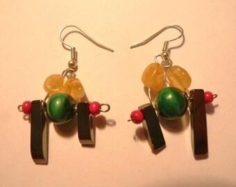 Amber earrings, malachite and hematite