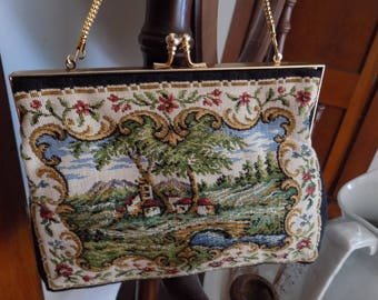 Vintage purse, petit point  purse, signed Du-Val purse ,needlepoint purse, Victorian Tapestry pastoral scene clutch purse