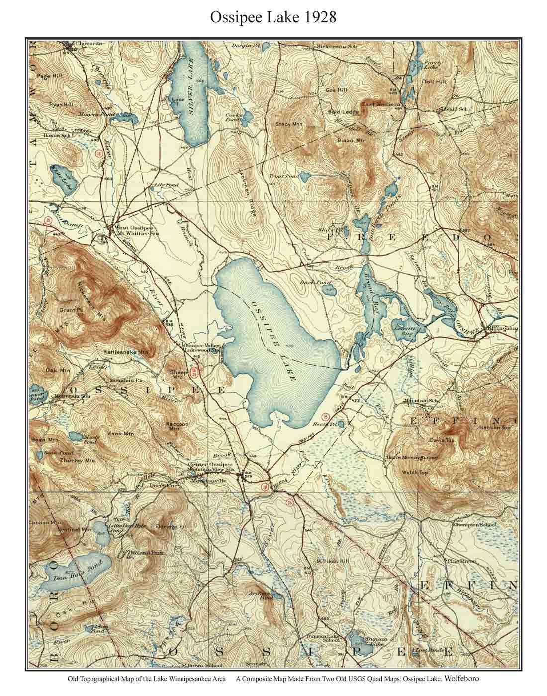Ossipee Lake Old Topographic Map By USGS Custom - Usgs quad maps