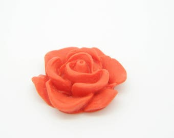1 x 20mm red flower polymer clay cabochon