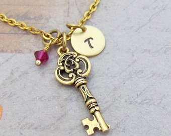 Key Charm Necklace, Personalized Hand Stamped Initial Monogram Birthstone Antique Gold Skeleton Key Charm Necklace