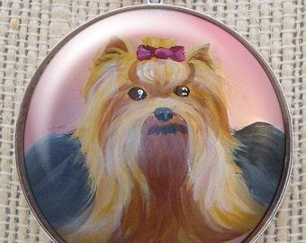Yorkshire Terrier collier ~ Dog Art ~ Yorkie Portrait ~ cadeau Saint-Valentin ~ collier Yorkie ~ peinture Yorkie ~ cadeaux pour elle
