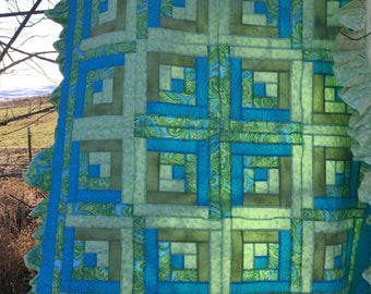 Baby girl quilt  Baby blanket log cabin hand quilted blues and greens