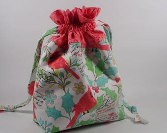 Red Bird Knitting Project Bag, Christmas Drawstring Knitting Project Bag, Small Project Bag, Sock Knitting Project Bag