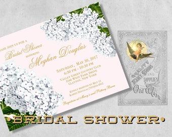 Elegant Bridal Shower Invitations - Pink & Gold, White Hydrangeas - Pink White Floral Bridal Shower Invitations, Printed Bridesmaid Luncheon
