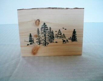 Handcrafted Woodland with Deer Standing Log Block, Home Decor, Cabin Decor, Fall Decor, Log, Christmas Gift, Best Friends Gift, Deer, Friend