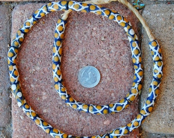 Krobo Beads: Blue/Gold/White 8x25mm