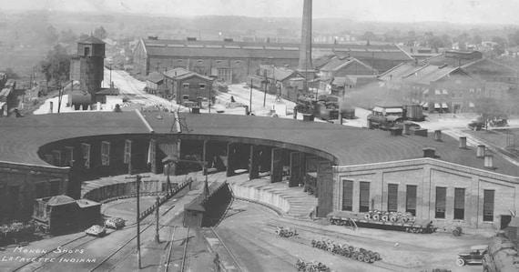 Lafayette Indiana Railroad Train Photo Large Vintage Black & White 1923 photo Monon Shops Rail Yard Roundhouse Trains Fathers Day Photograph