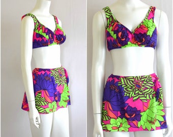 70s Day Glo Bikini/ Psychedelic 1970s Bikini/ Retro Floral Swimsuit/ 70s Bathing Suit/ Womens Size Small