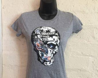 Universe Skull Tee- Women's graphic tee, women's t-shirt, inspirational, skull, spiritual, Universe, Rumi, T-shirt, Tee, Hipster, Skeleton