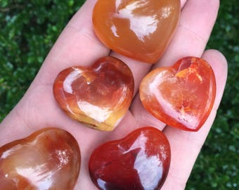 Carnelian Heart - Orange Heart - Crystal Stone Heart - Healing Crystals and Stones - Prefect for crystal collections and more! GemCity