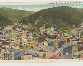 Linen Postcard, Deadwood, South Dakota, Birds Eye View, ca 1935