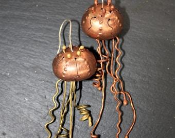 Organic, hammered, steampunk, copper jellyfish earrings